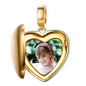 Custom4U Charm Photo Personnalisé Argent 925,Charm Coeur Plaqué Or pour Bracelet,Pendentif avec Photo Gravé Perle Beads pour Femme Cadeau Fte des Mres Anniversaire Maman Marriage - Publicité