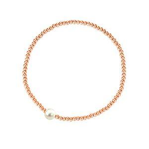 MetJakt Sleek 2,5 mm Perles élastiques Bracelet extensible en argent sterling plaqué or 18 carats Pendentifs divers (perle, Argent sterling plaqué or rose) - Publicité
