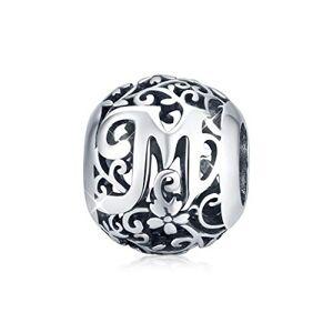 DOYIS Lettre M Charms Alphabet en Argent Sterling 925 Perles de Charme Initial Vintage Compatible avec Pandora Bracelets Colliers Femmes Cadeau - Publicité