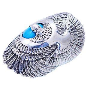 FORFOX Bague Aigle en Argent Sterling 925 avec Turquoise Naturelle pour Hommes Femmes Taille 64 - Publicité