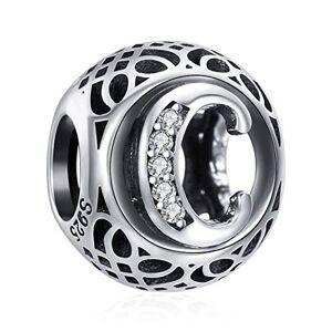ChicSilver Charms et Perles pour Femme Lettre de l'alphabet Initiale C en Argent Sterling 925 Charm avec AAA+ Zircone Compatible pour européen Bracelets Cadeau Anniversaire Femme - Publicité