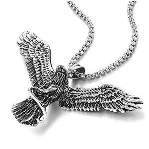 COOLSTEELANDBEYOND Vintage Aigle Volant Saisir Serpent Pendentif Homme Femme Collier Pendentif Acier 75CM Chane de blé - Publicité