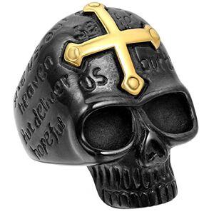 JewelryWe Bague Fantaisie Crne Gothique Tte de Mort avec Croix Or en Acier Inoxydable Anneau pour Homme #12 Taille de Bague 67.5 - Publicité