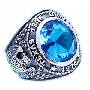 FORFOX Bague de Classe Aigle Noire en Argent Sterling 925 avec Cristal Bleu pour Homme Femme Taille 60 - Publicité