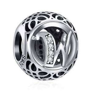 ChicSilver Charms et Perles pour Femme Lettre de l'alphabet Initiale W en Argent Sterling 925 Charm avec AAA+ Zircone Compatible pour européen Bracelets Cadeau Anniversaire Femme - Publicité