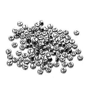 TrifyCore Argent de Couleur Alphabet Perles Lettre Accessoires Bijoux pour Bijoux Bracelets Colliers Faire 7mm 100pcs - Publicité