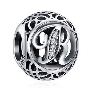 ChicSilver Charms et Perles pour Femme Lettre de l'alphabet Initiale R en Argent Sterling 925 Charm avec AAA+ Zircone Compatible pour européen Bracelets Cadeau Anniversaire Femme - Publicité