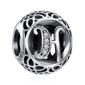 ChicSilver Charms et Perles pour Femme Lettre de l'alphabet Initiale H en Argent Sterling 925 Charm avec AAA+ Zircone Compatible pour européen Bracelets Cadeau Anniversaire Femme - Publicité