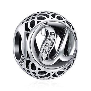 ChicSilver Charme Lettre de l'alphabet Initiale U en Argent Sterling 925 Femmes Perles Charm avec AAA+ Zircone Compatible pour Européen Bracelets Cadeau Anniversaire Femme - Publicité
