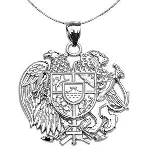 Joyara Collier Femme Pendentif 925 Argent Fin Arménien National Manteau D'Armes Aigle et Lion (Livré avec Une 45cm Chane) - Publicité