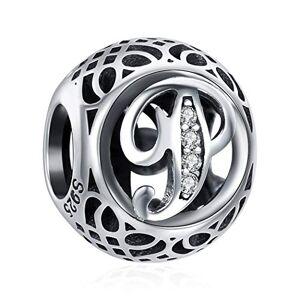 ChicSilver Charme Lettre de l'alphabet Initiale P en Argent Sterling 925 Femmes Perles Charm avec AAA+ Zircone Compatible pour Européen Bracelets Cadeau Anniversaire Femme - Publicité