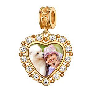 Custom4U Charm Photo Personnalisé en Argent 925 pour Bracelet,Pendentif Coeur avec Photo Gravé Perle Beads pour Femmes et Filles,Bijoux Personnalisable Cadeau Anniversaire Maman Marriage - Publicité