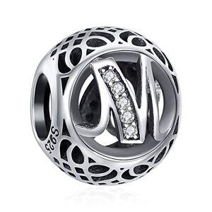 ChicSilver Charms et Perles pour Femme Lettre de l'alphabet Initiale M en Argent Sterling 925 Charm avec AAA+ Zircone Compatible pour européen Bracelets Cadeau Anniversaire Femme - Publicité