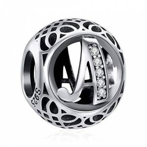 ChicSilver Charme Lettre de l'alphabet Initiale A en Argent Sterling 925 Femmes Perles Charm avec AAA+ Zircone Compatible pour Européen Bracelets Cadeau Anniversaire Femme - Publicité