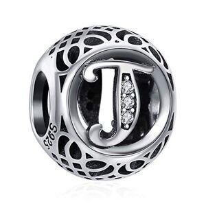 ChicSilver LettreT Charm Argent Sterling 925 Lettres de l'alphabet Charms Perle Bracelets et Colliers pour Femme Cadeau Anniversaire Femme - Publicité