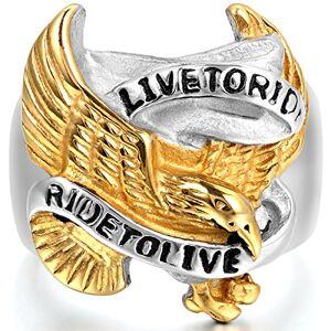 JewelryWe Bague Charms Aigle Live to Ride en Acier Inoxydable Anneau pour Homme #10 Tailles de Bague 62 - Publicité