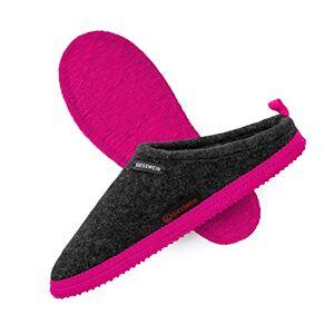 Giesswein Woolpops Anthrazit/Pink 39 Pantoufles pour Femmes et Hommes, Chaussons en Feutre Unisexes, Mules avec Semelle antidérapante en Caoutchouc Naturel - Publicité