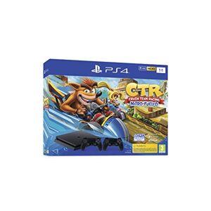 Sony PlayStation 4 Slim 1 To + Crash Team Racing, Avec 2 manettes sans fil DUALSHOCK 4 V2, Châssis F, Noir (Jet Black) - Publicité