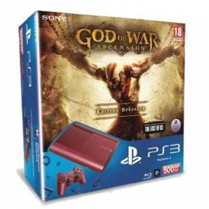 Sony Console PS3 Ultra slim 500 Go rouge + God of War : Ascension édition spéciale - Publicité