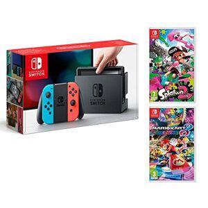 Nintendo Switch Console Rouge/Bleu Néon 32Go + Mario Kart 8 Deluxe + Splatoon 2 - Publicité
