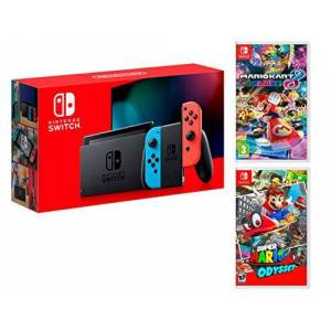 Nintendo Switch Console Rouge/Bleu Néon 32Go + Super Mario Odyssey + Mario Kart 8 Deluxe Super Mario Pack - Publicité