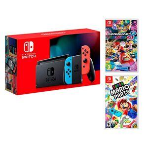 Nintendo Switch Rouge/Bleu Néon 32Go [Nouveau modèle V2] Super Mario Party + Mario Kart 8 Deluxe - Publicité