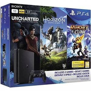 Sony PS4 Slim 1 To + Horizon Zero Dawn + Uncharted: The Lost Legacy + Ratchet & Clank - Publicité
