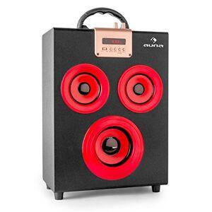 """OneConcept auna Central Park Enceinte Portable 2.1 (avec Bluetooth avec Ports USB/SD pour Lecture MP3, Tuner FM, entrée AUX, télécommande, 2 x Haut-Parleur 3"""" + subwoofer 4"""") Rouge - Publicité"""
