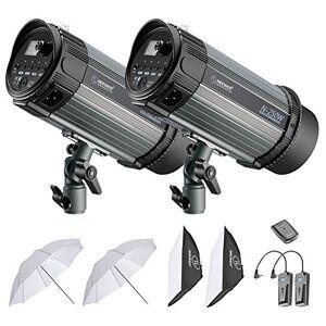 Neewer 500W Kit de Flash de Studio:(2) Flash,(2) Softbox,(1) RT-16 Transmetteur Récepteur sans Fil,(2) 84cm Parapluie Translucide pour Vidéo Portrait Photo (N-250W) - Publicité