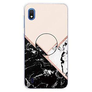 RFENGYUN Coque Samsung Galaxy A10 Etui, Ultra-Mince TPU Anti Choc Housse de Protection Case Silicone avec Porte-Clip pour Casque.(Black-White-Pink) RF39 - Publicité