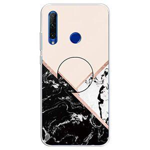 RFENGYUN Coque Huawei Enjoy 9S, Coque P Smart Plus 2019, Coque P Smart+ 2019 Etui, Ultra-Mince TPU Anti Choc Housse de Protection Case Silicone avec Porte-Clip pour Casque.(Black-White-Pink) RF39 - Publicité