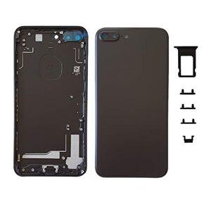 Smartex Chassis Arriere en Vitre + Coque + Tiroir SIM Compatible avec iPhone 7 Plus   Back Cover + Frame (Noir) - Publicité
