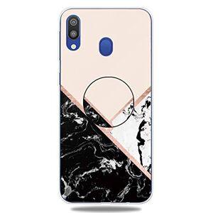 RFENGYUN Coque Samsung Galaxy A40 Etui, Ultra-Mince TPU Anti Choc Housse de Protection Case Silicone avec Porte-Clip pour Casque.(Black-White-Pink) RF39 - Publicité