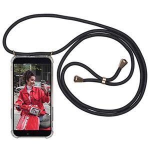 Expatrié Collier Pochette Téléphone Compatible Huawei P30 Lite Noir Lola Coque Smartphone Tour de Cou Lanire en Corde, Housse Silicone Transparente Case Necklace Bandouilire Stylée - Publicité