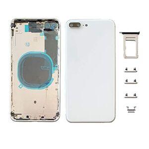Smartex Chassis Arriere en Vitre + Coque + Tiroir SIM Compatible avec iPhone 8 Plus   Back Cover + Frame (Argent) - Publicité