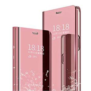 MLOTECH Coque pour Huawei P Smart Z,étui + Verre trempé Flip Clear View Translucide Miroir Cover Standing 360Housse Antichoc Smart Cover Bumper Or Rose - Publicité