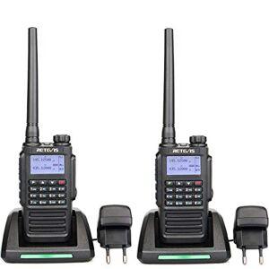 Retevis RT87 Talkie Walkie, tanche IP67, Double Bande 128 Canaux, CTCSS/DCS VOX Alarme, PTT ID MSK/DTMF/2T/5T, Radio FM, Talkie Walkie Professionnel (Noir, 2 pcs) - Publicité