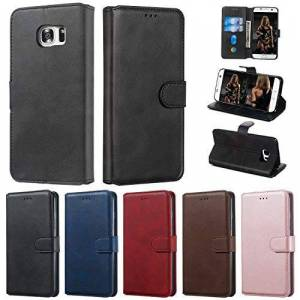 RFENGYUN Coque Samsung Galaxy S7 Edge, Coque Galaxy G9350 Housse Etui, tui en Cuir PU Kickstand téléphone Cas Etui pour téléphone TPU Cas Flip Phone Case.(Black) RF12 - Publicité