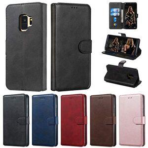 RFENGYUN Coque Samsung Galaxy S9 Housse Etui, tui en Cuir PU Kickstand téléphone Cas Etui pour téléphone TPU Cas Flip Phone Case.(Black) RF12 - Publicité