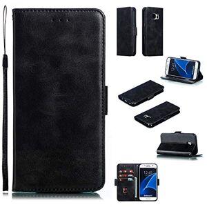 RFENGYUN Coque pour Samsung Galaxy S7, Coque Galaxy G9300 Housse Etui, tui en Cuir PU Kickstand Cover (Black) Cas de Fermeture magnétique étui Portefeuille TPU Cas. RF04 - Publicité