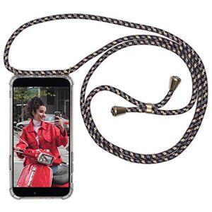 Expatrié Collier Pochette Téléphone Compatible iPhone 8 Plus/7 + Noir/Beige Lola Coque Smartphone Tour de Cou Lanire en Corde, Housse Silicone Transparente Case Necklace Bandouilire Stylée - Publicité