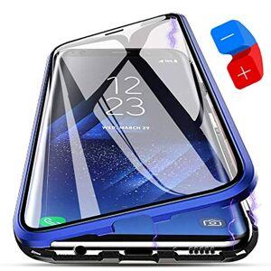 ZHXMALL Coque Samsung Galaxy S9 Plus, [Adsorption Magnétique] Housse Alliage D'aluminium Verre Trempé Cas Ultra Slim Anti-rayures Aimant Flip Cover Case pour Samsung Galaxy S9 Plus [Version Améliorée] Bleu - Publicité
