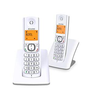 Alcatel F530 Duo Téléphone sans fil DECT design aux coloris contemporains, Mains libres de qualité, Grand écran rétroéclairé ultra lisible, Sonneries VIP, 10 mélodies d'appel Blanc/Gris - Publicité