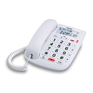 Alcatel TMax20 Téléphone Filaire Larges Touches pour Les séniors, Ecran rétro-éclairé, Fonction Mains Libres, 1 mémoire directe, Répertoire de 10 entrées, Volume du combiné réglable Blanc - Publicité