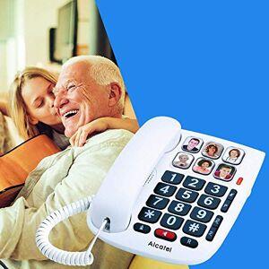 Alcatel TMAX 10 Téléphone Filaire Larges Touches pour Les séniors, 6 Photos mémoires, Mains Libres, Clavier Larges Touches Blanc - Publicité