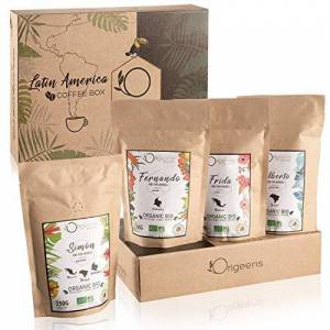 Origeens CAFE GRAIN 1kg BIO   Café en Grain Arabica   Coffret café dégustation, Torréfaction Artisanale, 4x250g   Idée Cadeau - Publicité