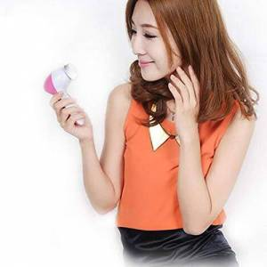 REFAGO 5 In 1 Body Face Skin Care Cleaning Wash Brush Facial Beauty Relief Massager Pink - Publicité