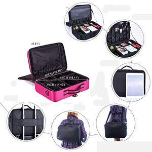 Zhiop valise maquillage professionnel voyage Capacité de stockage surdimensionnée à trois couches, double épaule/diagonale/portable, miroir amovible - Publicité