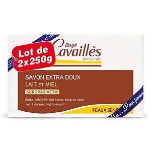 Rogé Cavaills Savon Surgras Extra-Doux Lait et Miel Lot de 2 x 250 g - Publicité