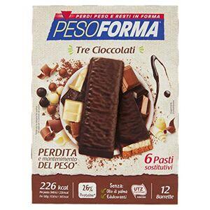 NUTRITION & SANTE' ITALIA SpA Pesoforma Barretta 3 Cioccolati Pasto Sostitutivo 12 Pezzi - Publicité